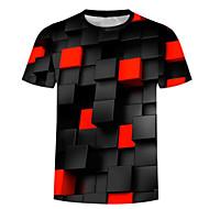 זול -3D צווארון עגול בסיסי / מוּגזָם מידות גדולות כותנה, טישרט - בגדי ריקוד גברים דפוס שחור XXL / שרוולים קצרים