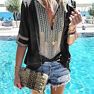 cheap -Women's Basic Cotton Loose Shirt - Stripe V Neck