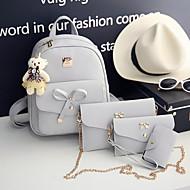 Kadın's Çantalar PU Çanta Setleri 4 Adet Çanta Seti Fermuar için Günlük Siyah / Gri
