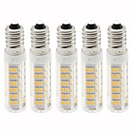 billige Kornpærer med LED-5pcs 4.5 W 450 lm E14 LED-kornpærer T 76 LED perler SMD 2835 Mulighet for demping Varm hvit / Kjølig hvit 220 V