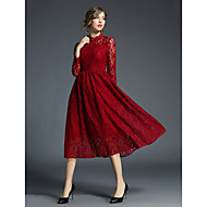Women's Embroidery Daily Wear / Work Vintage / Street chic A Line / Sheath / Swing Dress - Solid Colored / Hollow / Embroidered Lace / Ruched / Holiday Spring Wine L XL XXL