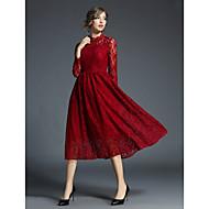 Damskie Praca Vintage / Moda miejska Linia A / Pochwa / Swing Sukienka - Solidne kolory / Pusty / Haft, Koronka / Z marszczeniami / Święto Midi