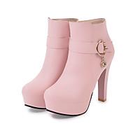 baratos Sapatos Femininos-Mulheres Couro Ecológico Outono & inverno Clássico / Minimalismo Botas Salto Robusto Dedo Fechado Botas Cano Médio Preto / Bege / Rosa claro