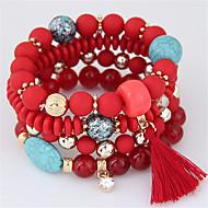 בגדי ריקוד נשים חרוזים צמיד חרוזים שרף צִיצִית בוהמי ארופאי צמידים תכשיטים כתום / אדום / כחול בהיר עבור Party מתנה