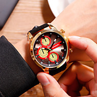 Men's Dress Watch Quartz Oversized Leather Black / Orange Water Resistant / Waterproof Large Dial Analog Classic Casual Fashion - Black / Red Blue / Black Black / Silver