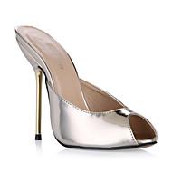 baratos Sapatos Femininos-Mulheres Sintéticos Outono / Primavera Verão Clássico / Minimalismo Sandálias Salto Agulha Peep Toe Prata / Azul / Vinho / Casamento / Festas & Noite
