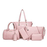 Damen Taschen PU Bag Set 6 Stück Geldbörse Set Grau / Rot / Braun
