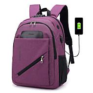 cheap School Bags-Unisex Bags Canvas Backpack Zipper Solid Color Blue / Black / Purple