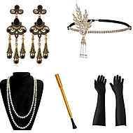 Den store Gatsby Vintage 1920-tallet Den store Gatsby De livlige 20-årene Kostume Dame Hodeplagg Flapperpannebånd i 1920-stil Hodeplagg Svart+Sølv / Gylden+Svart / Rød+Gylden Vintage Cosplay