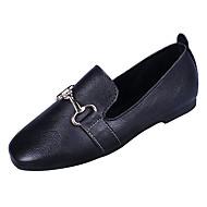 tanie Obuwie damskie-Damskie PU Wiosna Casual Mokasyny i buty wsuwane Płaski obcas Plac Toe Czarny / Beżowy