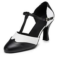 billige Moderne sko-Dame Moderne sko Fuskelær Høye hæler Tvinning Slim High Heel Kan spesialtilpasses Dansesko Svart / Hvit