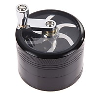 cheap Smoking Accessories-4 Layers Aluminum Alloy Chromium Crusher Mill Smoke Detectors Semiautomatic Large Tobacco Spice Herb Grinder