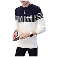 Herre Daglig Fargeblokk Langermet Normal Pullover Hvit / Rød / Navyblå XL / XXL / XXXL