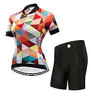 FirtySnow Pentru femei Manșon scurt Jerseu Cycling cu Pantaloni Scurți - Portocaliu Carou / Striat  Bicicletă Set de Îmbrăcăminte Respirabil Uscare rapidă Sport Poliester Carou / Striat  Ciclism