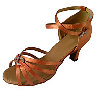 Women's Latin Shoes Satin Sandal Crystal / Rhinestone Flared Heel Dance Shoes Purple / Almond / Brown