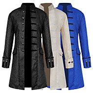 cheap -Retro / Vintage Medieval Costume Men's Coat White / Black / Blue Vintage Cosplay Dobby Fabric Party Prom Long Sleeve Stand