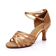 cheap -Women's Dance Shoes PU Leather / Satin Latin Shoes / Salsa Shoes Buckle Sandal Customized Heel Customizable Silver / Brown / Gold / EU40