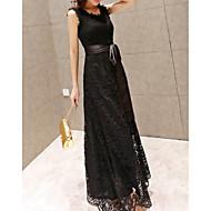 Γυναικεία Βασικό Θήκη Φόρεμα - Μονόχρωμο Γεωμετρικό, Δαντέλα Μακρύ Ψηλή Μέση / Sexy