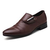 tanie Obuwie męskie-Męskie formalne Buty PU Jesień Mokasyny i buty wsuwane Czarny / Brązowy