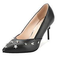 baratos Sapatos Femininos-Mulheres Couro Ecológico Primavera Casual Saltos Salto Agulha Tachas Preto / Prata / Rosa claro