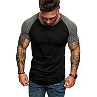 男性用 EU / USサイズ Tシャツ ラウンドネック ソリッド ブラック XL