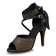 Mujer Zapatos de Baile Latino Satén Tacones Alto Talón grueso Personalizables Zapatos de baile Negro