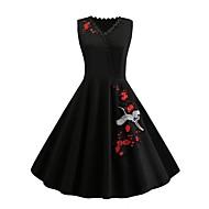 Women's Daily Street chic Swing Dress - Floral Embroidered V Neck Summer Black XXL XXXL XXXXL