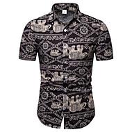 男性用 クラブ - プリント EU / USサイズ シャツ ビジネス / ストリートファッション レギュラーカラー カラーブロック リネン ブラック XXXL / 半袖