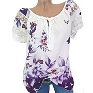 T-shirt Damskie Kwiaty / Geometric Shape Czarny XXXL