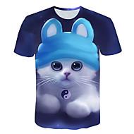 Ανδρικά T-shirt Βασικό / Κομψό στυλ street Συνδυασμός Χρωμάτων / Ζώο Στρογγυλή Λαιμόκοψη Στάμπα Γάτα Βαθυγάλαζο XXXL / Κοντομάνικο