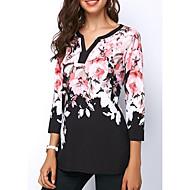 Naisten V kaula-aukko Geometrinen Perus Pluskoko - T-paita Musta XXXL
