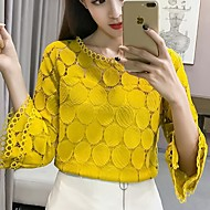 cheap -Women's Slim Blouse - Solid Colored Lace / Hollow White XL / Spring / Summer / Fall / Winter