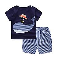 Dítě Chlapecké Základní Denní modrá & bílá Žakár Krátký rukáv Krátké Krátké Bavlna Sady oblečení Námořnická modř