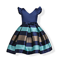 cheap -Kids / Toddler Girls' Bow / Sweet Party / Holiday Blue Solid Colored / Striped Short Sleeve Cotton Dress Pink