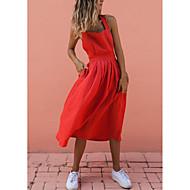 Γυναικεία Εξόδου Βασικό Κομψό στυλ street Λεπτό Γραμμή Α Θήκη Φόρεμα - Μονόχρωμο, Εξώπλατο Μίντι Τιράντες / Sexy