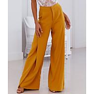 Femme Pantalons Mince Ample Pantalon - Couleur Pleine Blanc / A Volants