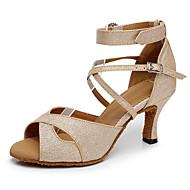 Femme Chaussures Latines Cuir Talon Talon Cubain Personnalisables Chaussures de danse Or