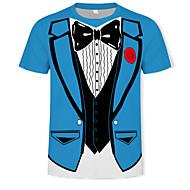 Hombre Básico / Chic de Calle Estampado Camiseta, Escote Redondo Bloques / 3D Azul Piscina XL / Manga Corta