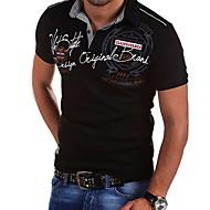 Hombre Talla EU / US Estampado Camiseta, Cuello Camisero Delgado Un Color Blanco L
