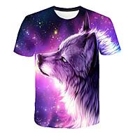 Herrn Einfarbig / 3D / Tier - Grundlegend / Street Schick Klub T-shirt, Rundhalsausschnitt Druck Wolf Purpur XXXL / Kurzarm