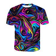 billige -Bomull Rund hals T-skjorte Herre - 3D / Regnbue, Trykt mønster Regnbue / Kortermet / Sommer