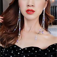 สำหรับผู้หญิง ยาว Drop Earrings เลียนแบบเพชร ต่างหู รูปแบบแขวน เครื่องประดับ สีเงิน สำหรับ งานแต่งงาน ปาร์ตี้ เทศกาลคานาวาล คลับ บาร์ 1 คู่