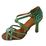 baratos -Mulheres Cetim Sapatos de Dança Latina Detalhes em Cristal / Purpurina Salto Salto Alto Magro Personalizável Luz Vermelha / Verde / Azul / Espetáculo / Couro