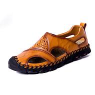 Bărbați Pantofi de piele Piele Primavara vara Casual / Chinoiserie Sandale Plimbare Respirabil Negru / Maro Închis / Kaki