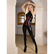 Déguisement Zentai Femme Adulte Fille de moto Combinaison Morphsuit Combinaison-pantalon Costume de peau Cuir verni Cheveux Toyokalon justaucorps Noir