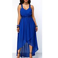 Fashion A Line Women's Plus Size Basic Maxi Tunic Chiffon Swing Dress - Solid Colored Strap Blue Black Red XXXL XXXXL XXXXXL