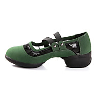 Mujer Zapatillas de Baile Goma / Cuero Sintético Zapatilla Tacón Plano Personalizables Zapatos de baile Negro / Rojo / Verde