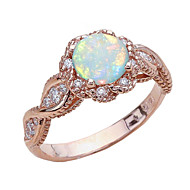 Dam Opal Bandring Ring Rött guld Nummer Statement Stilig Europeisk Trendig Moderingar Smycken Rosguld Till Bröllop Party Gåva Datum 6 / 7 / 8 / 9 / 10