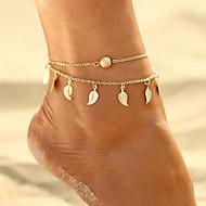 Women's Double Layered Ankle Bracelet Leaf Tropical Casual / Sporty Bikini Anklet Jewelry Gold / Silver For Causal Street Bikini
