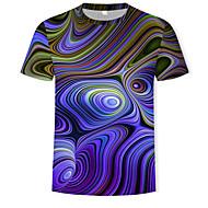 Rund hals Herre - Farveblok / 3D Bomuld, Trykt mønster T-shirt Lilla XL